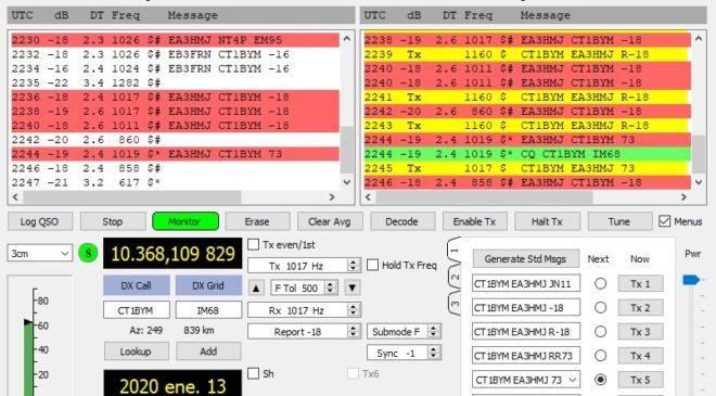 First CTEA EME QSO on 10GHz